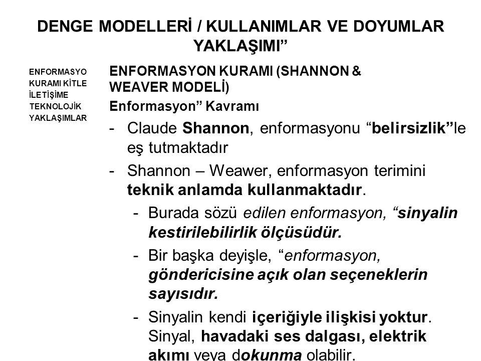 DENGE MODELLERİ / KULLANIMLAR VE DOYUMLAR YAKLAŞIMI ENFORMASYO KURAMI KİTLE İLETİŞİME TEKNOLOJİK YAKLAŞIMLAR ENFORMASYON KURAMI (SHANNON & WEAVER MODELİ) Enformasyon Kavramı -Claude Shannon, enformasyonu belirsizlik le eş tutmaktadır -Shannon – Weawer, enformasyon terimini teknik anlamda kullanmaktadır.