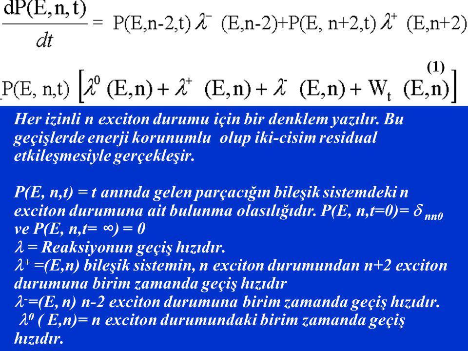Her izinli n exciton durumu için bir denklem yazılır. Bu geçişlerde enerji korunumlu olup iki-cisim residual etkileşmesiyle gerçekleşir. P(E, n,t) = t