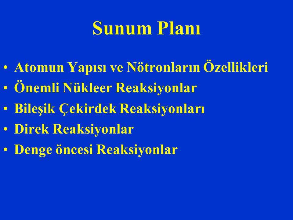 Sunum Planı Atomun Yapısı ve Nötronların Özellikleri Önemli Nükleer Reaksiyonlar Bileşik Çekirdek Reaksiyonları Direk Reaksiyonlar Denge öncesi Reaksiyonlar