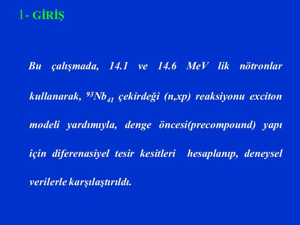 1- GİRİŞ Bu çalışmada, 14.1 ve 14.6 MeV lik nötronlar kullanarak, 93 Nb 41 çekirdeği (n,xp) reaksiyonu exciton modeli yardımıyla, denge öncesi(precomp