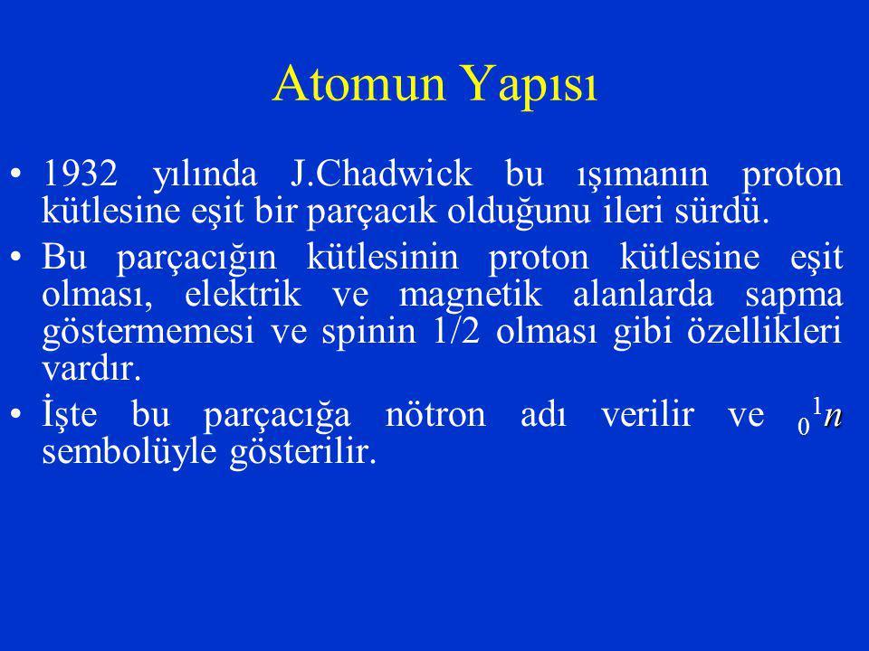 Atomun Yapısı 1932 yılında J.Chadwick bu ışımanın proton kütlesine eşit bir parçacık olduğunu ileri sürdü. Bu parçacığın kütlesinin proton kütlesine e