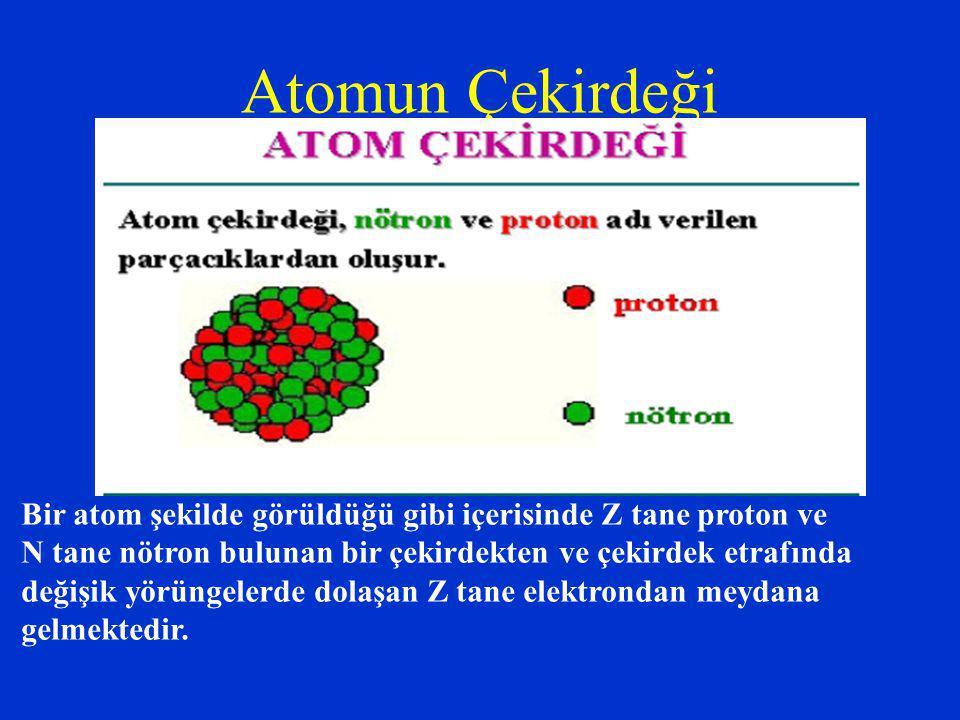 Atomun Çekirdeği Bir atom şekilde görüldüğü gibi içerisinde Z tane proton ve N tane nötron bulunan bir çekirdekten ve çekirdek etrafında değişik yörüngelerde dolaşan Z tane elektrondan meydana gelmektedir.
