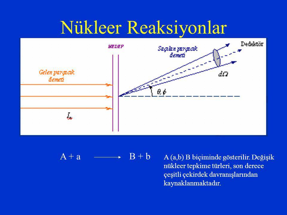 Nükleer Reaksiyonlar A + a B + b A (a,b) B biçiminde gösterilir. Değişik nükleer tepkime türleri, son derece çeşitli çekirdek davranışlarından kaynakl