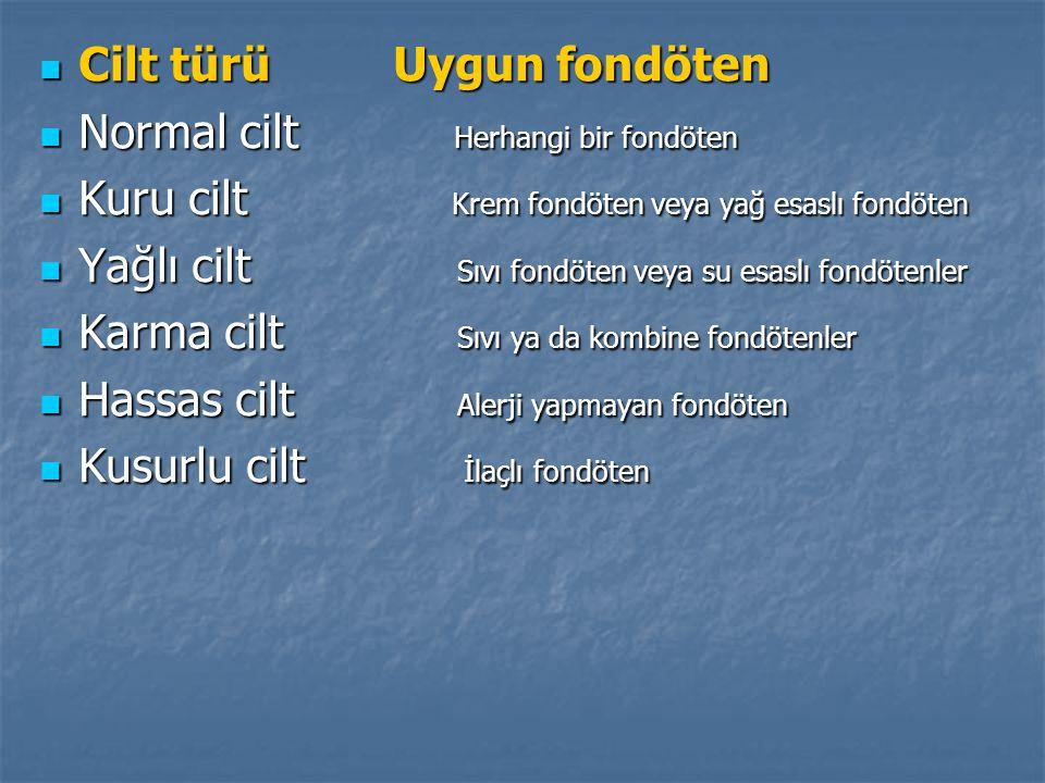 Cilt türü Uygun fondöten Cilt türü Uygun fondöten Normal cilt Herhangi bir fondöten Normal cilt Herhangi bir fondöten Kuru cilt Krem fondöten veya yağ