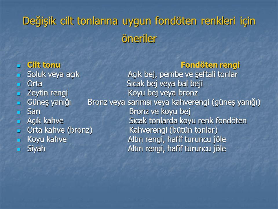 Değişik cilt tonlarına uygun fondöten renkleri için öneriler Cilt tonu Fondöten rengi Cilt tonu Fondöten rengi Soluk veya açık Açık bej, pembe ve şeft