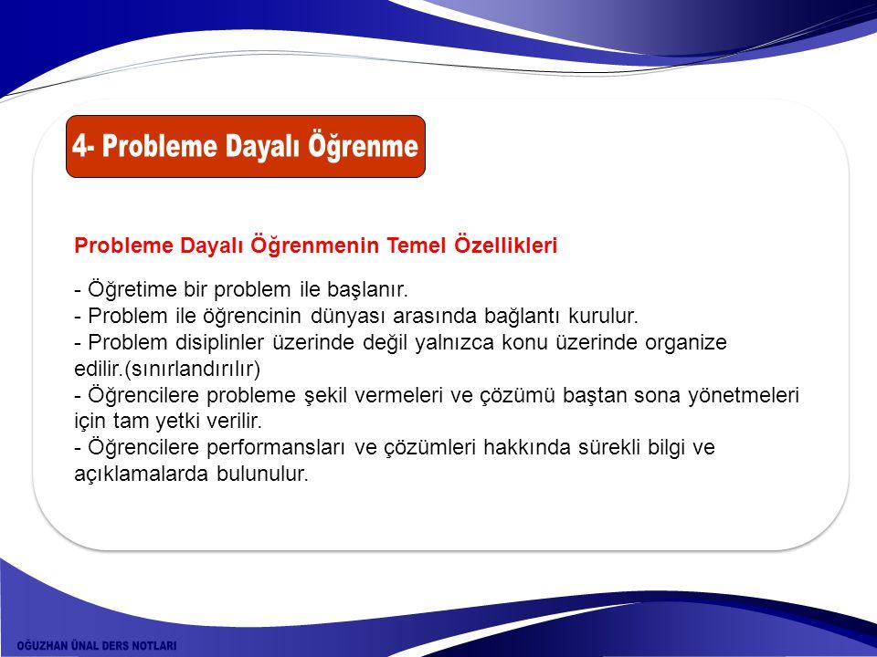 Probleme Dayalı Öğrenmenin Temel Özellikleri - Öğretime bir problem ile başlanır. - Problem ile öğrencinin dünyası arasında bağlantı kurulur. - Proble