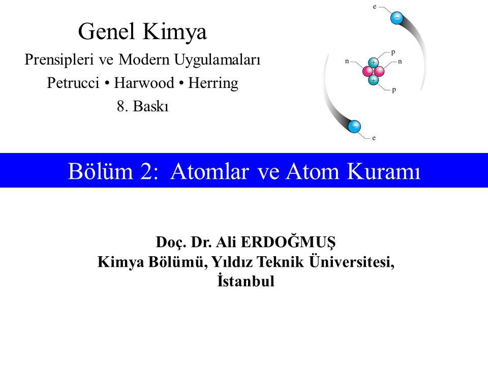 İçindekiler 2-1 Kimyada İlk Buluşlar ve Atom Kuramı 2-2 Elektronlar ve Atom Fiziğinde Diğer Buluşlar 2-3 Atom Çekirdeği 2-4 Kimyasal Elementler 2-5 Atom Kütleleri 2-6 Periyodik Çizelgeye Giriş 2-7 Mol Kavramı ve Avogadro Sayısı 2-8 Hesaplamalarda Mol Kavramının Kullanılışı