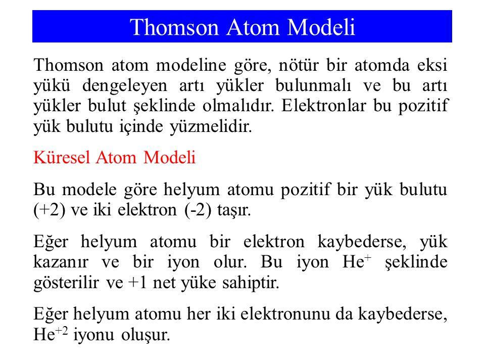 Thomson Atom Modeli Thomson atom modeline göre, nötür bir atomda eksi yükü dengeleyen artı yükler bulunmalı ve bu artı yükler bulut şeklinde olmalıdır