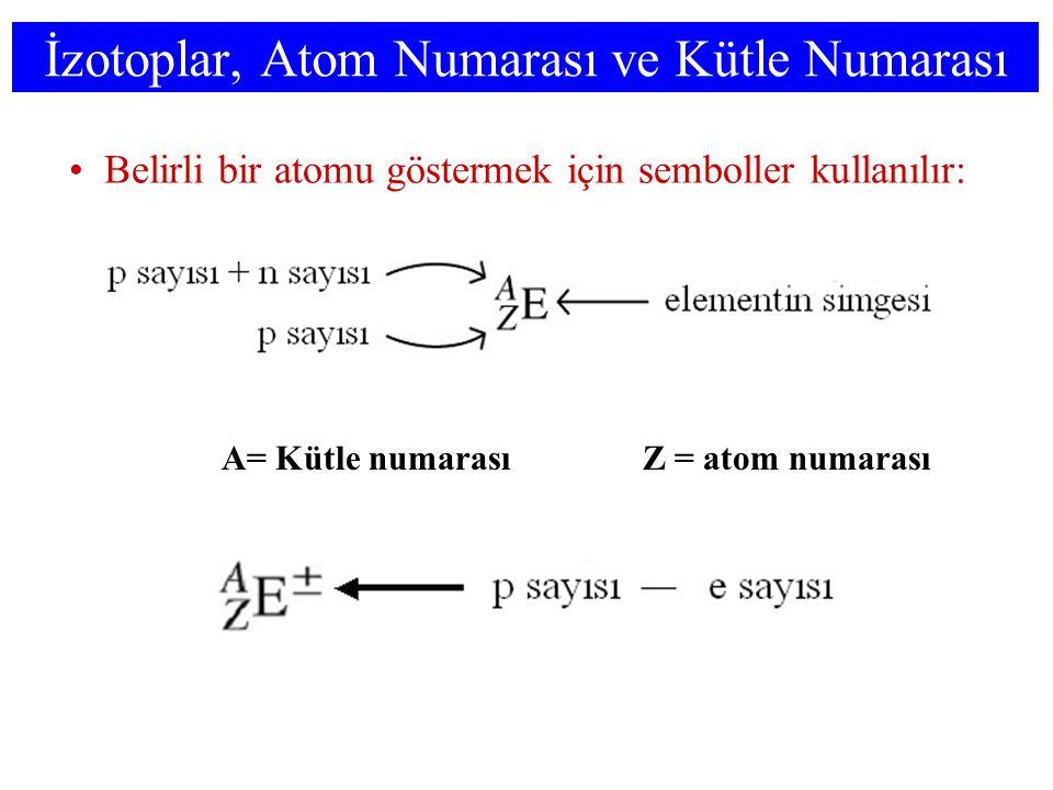 İzotoplar, Atom Numarası ve Kütle Numarası Belirli bir atomu göstermek için semboller kullanılır: A= Kütle numarasıZ = atom numarası