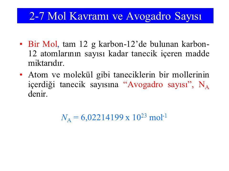 2-7 Mol Kavramı ve Avogadro Sayısı Bir Mol, tam 12 g karbon-12'de bulunan karbon- 12 atomlarının sayısı kadar tanecik içeren madde miktarıdır. Atom ve