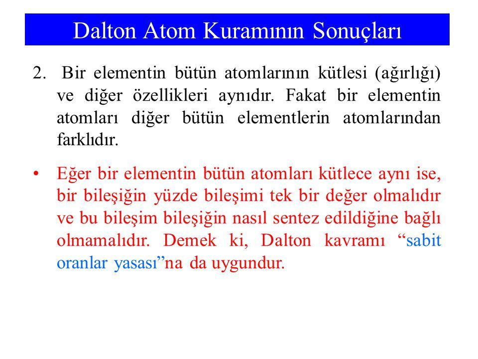 2. Bir elementin bütün atomlarının kütlesi (ağırlığı) ve diğer özellikleri aynıdır. Fakat bir elementin atomları diğer bütün elementlerin atomlarından