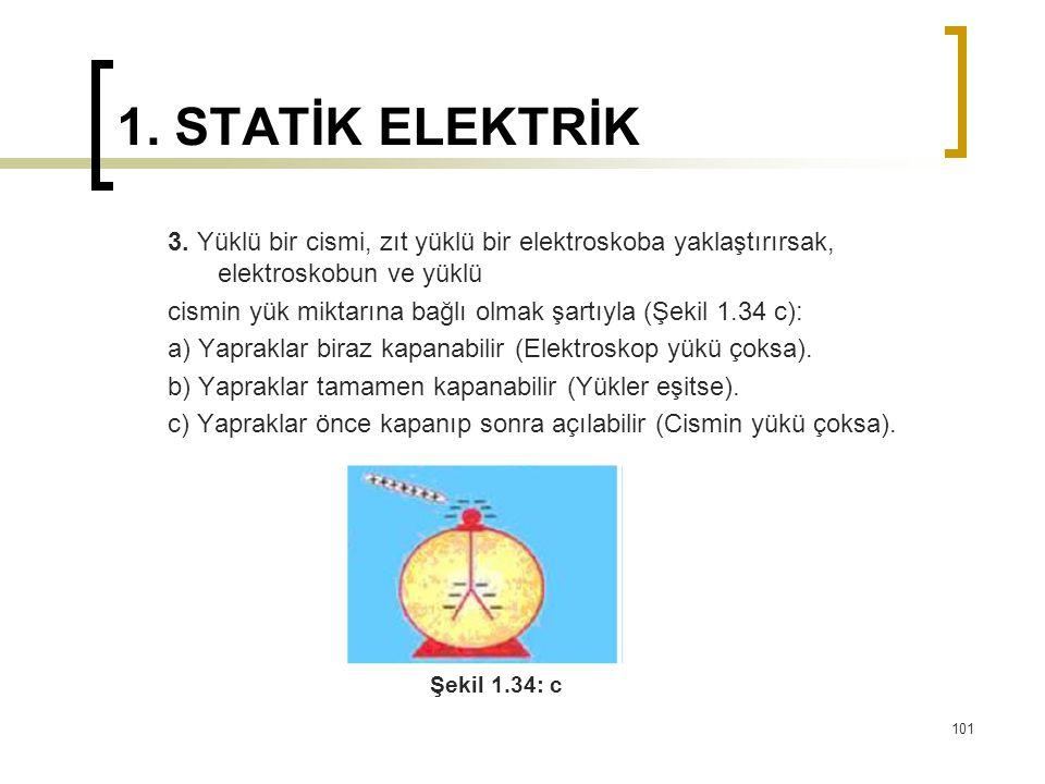 1. STATİK ELEKTRİK 3. Yüklü bir cismi, zıt yüklü bir elektroskoba yaklaştırırsak, elektroskobun ve yüklü cismin yük miktarına bağlı olmak şartıyla (Şe