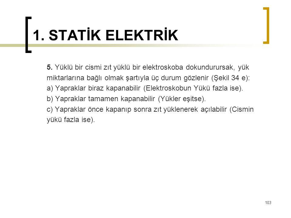 1. STATİK ELEKTRİK 5. Yüklü bir cismi zıt yüklü bir elektroskoba dokundurursak, yük miktarlarına bağlı olmak şartıyla üç durum gözlenir (Şekil 34 e):