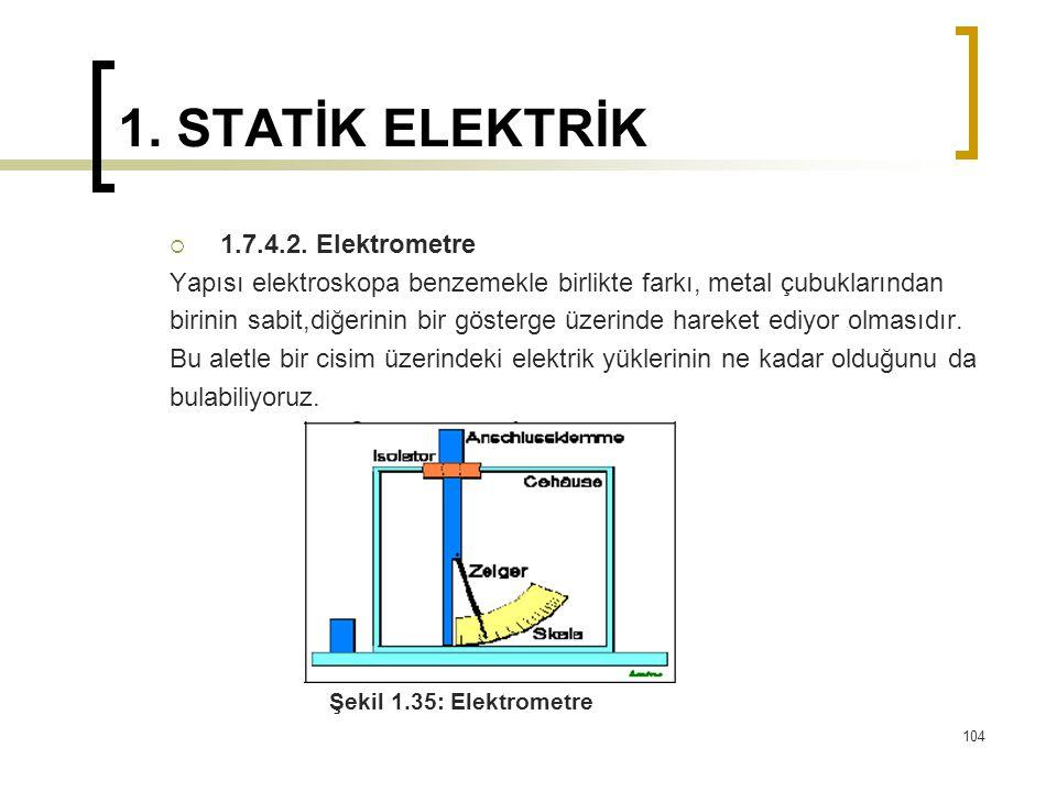 1. STATİK ELEKTRİK  1.7.4.2. Elektrometre Yapısı elektroskopa benzemekle birlikte farkı, metal çubuklarından birinin sabit,diğerinin bir gösterge üze