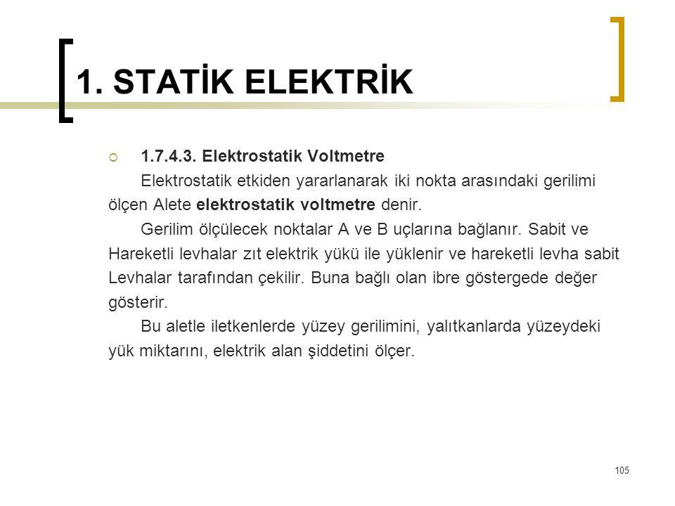 1. STATİK ELEKTRİK  1.7.4.3. Elektrostatik Voltmetre Elektrostatik etkiden yararlanarak iki nokta arasındaki gerilimi ölçen Alete elektrostatik voltm