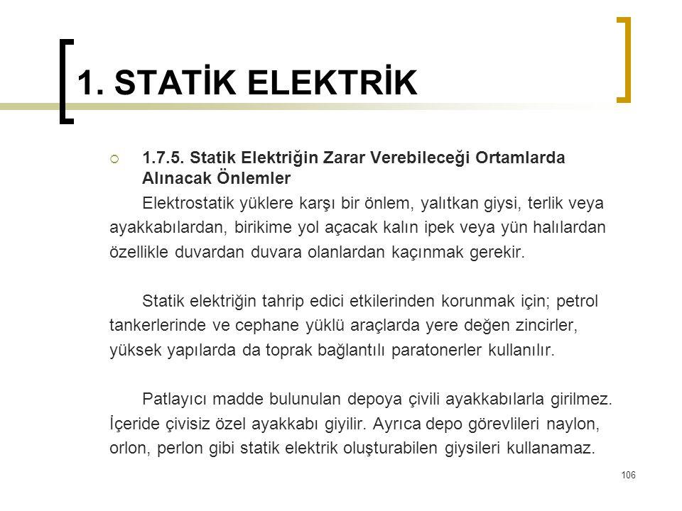 1. STATİK ELEKTRİK  1.7.5. Statik Elektriğin Zarar Verebileceği Ortamlarda Alınacak Önlemler Elektrostatik yüklere karşı bir önlem, yalıtkan giysi, t