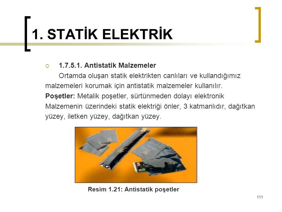 1. STATİK ELEKTRİK  1.7.5.1. Antistatik Malzemeler Ortamda oluşan statik elektrikten canlıları ve kullandığımız malzemeleri korumak için antistatik m