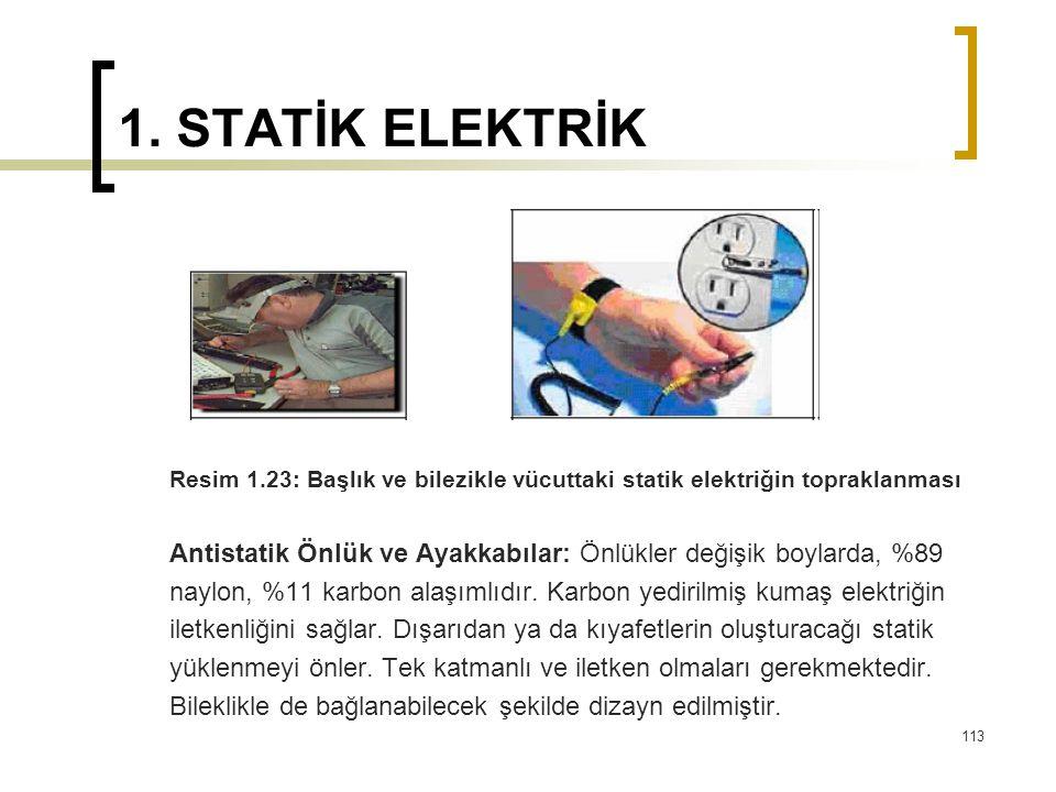 1. STATİK ELEKTRİK Resim 1.23: Başlık ve bilezikle vücuttaki statik elektriğin topraklanması Antistatik Önlük ve Ayakkabılar: Önlükler değişik boylard