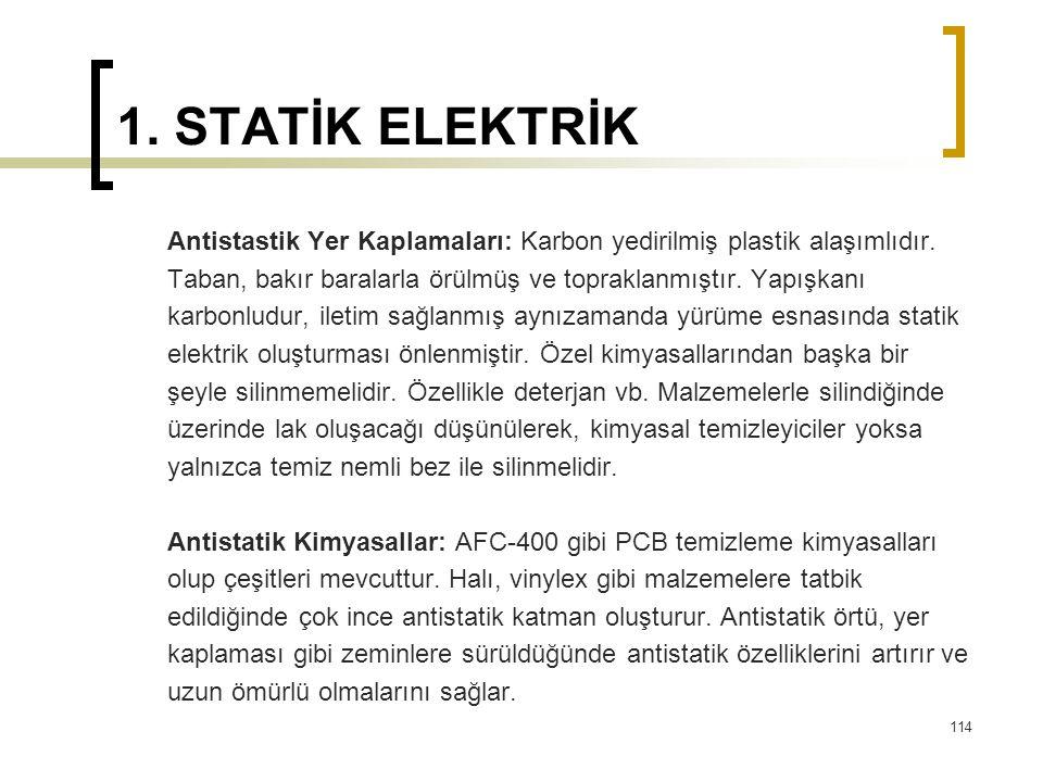 1. STATİK ELEKTRİK Antistastik Yer Kaplamaları: Karbon yedirilmiş plastik alaşımlıdır. Taban, bakır baralarla örülmüş ve topraklanmıştır. Yapışkanı ka