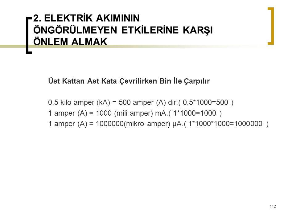 2. ELEKTRİK AKIMININ ÖNGÖRÜLMEYEN ETKİLERİNE KARŞI ÖNLEM ALMAK Üst Kattan Ast Kata Çevrilirken Bin İle Çarpılır 0,5 kilo amper (kA) = 500 amper (A) di