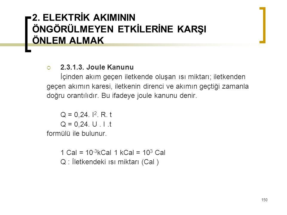 2. ELEKTRİK AKIMININ ÖNGÖRÜLMEYEN ETKİLERİNE KARŞI ÖNLEM ALMAK  2.3.1.3. Joule Kanunu İçinden akım geçen iletkende oluşan ısı miktarı; iletkenden geç