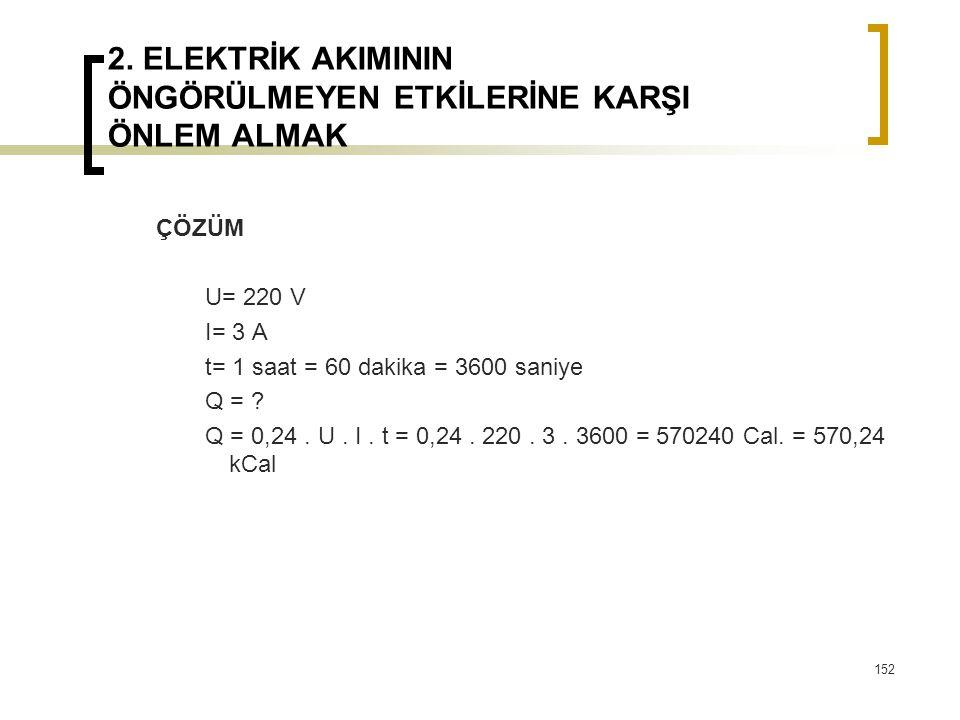 2. ELEKTRİK AKIMININ ÖNGÖRÜLMEYEN ETKİLERİNE KARŞI ÖNLEM ALMAK ÇÖZÜM U= 220 V I= 3 A t= 1 saat = 60 dakika = 3600 saniye Q = ? Q = 0,24. U. I. t = 0,2