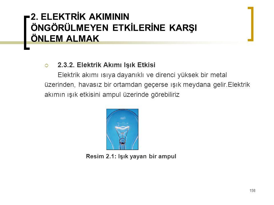2. ELEKTRİK AKIMININ ÖNGÖRÜLMEYEN ETKİLERİNE KARŞI ÖNLEM ALMAK  2.3.2. Elektrik Akımı Işık Etkisi Elektrik akımı ısıya dayanıklı ve direnci yüksek bi