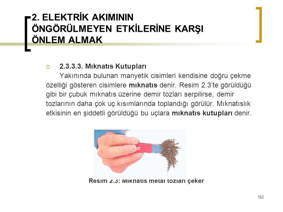 2. ELEKTRİK AKIMININ ÖNGÖRÜLMEYEN ETKİLERİNE KARŞI ÖNLEM ALMAK  2.3.3.3. Mıknatıs Kutupları Yakınında bulunan manyetik cisimleri kendisine doğru çekm