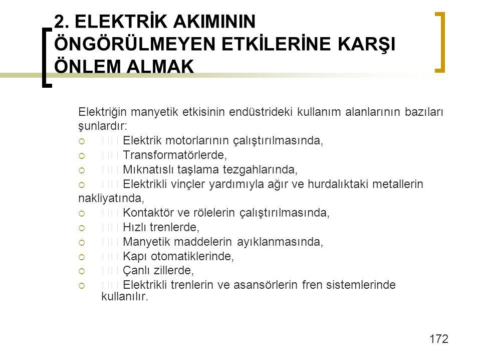 2. ELEKTRİK AKIMININ ÖNGÖRÜLMEYEN ETKİLERİNE KARŞI ÖNLEM ALMAK Elektriğin manyetik etkisinin endüstrideki kullanım alanlarının bazıları şunlardır:  E