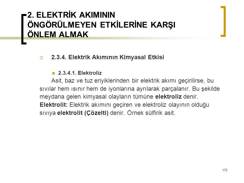 2. ELEKTRİK AKIMININ ÖNGÖRÜLMEYEN ETKİLERİNE KARŞI ÖNLEM ALMAK  2.3.4. Elektrik Akımının Kimyasal Etkisi 2.3.4.1. Elektroliz Asit, baz ve tuz eriyikl