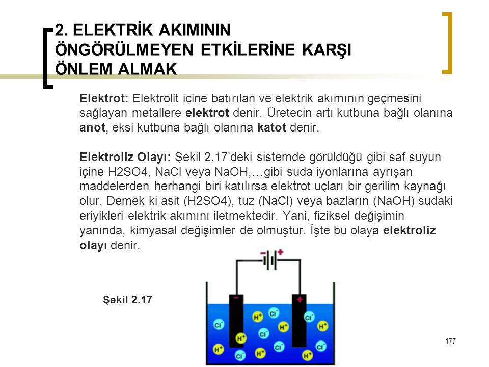 2. ELEKTRİK AKIMININ ÖNGÖRÜLMEYEN ETKİLERİNE KARŞI ÖNLEM ALMAK Elektrot: Elektrolit içine batırılan ve elektrik akımının geçmesini sağlayan metallere