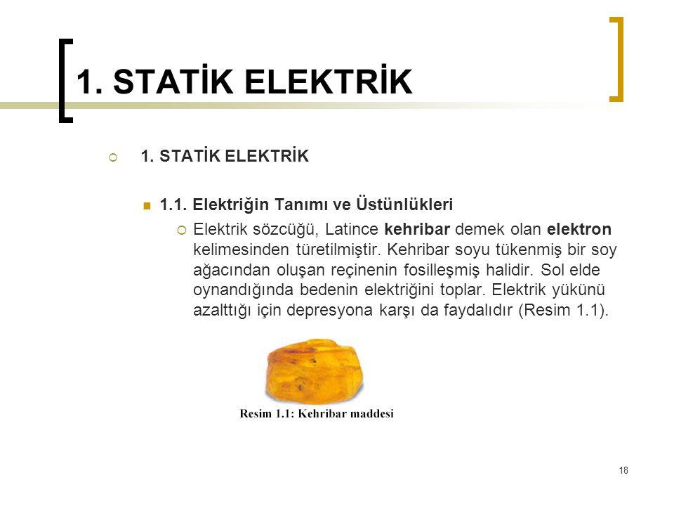 1. STATİK ELEKTRİK  1. STATİK ELEKTRİK 1.1. Elektriğin Tanımı ve Üstünlükleri  Elektrik sözcüğü, Latince kehribar demek olan elektron kelimesinden t