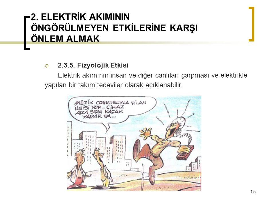 2. ELEKTRİK AKIMININ ÖNGÖRÜLMEYEN ETKİLERİNE KARŞI ÖNLEM ALMAK  2.3.5. Fizyolojik Etkisi Elektrik akımının insan ve diğer canlıları çarpması ve elekt