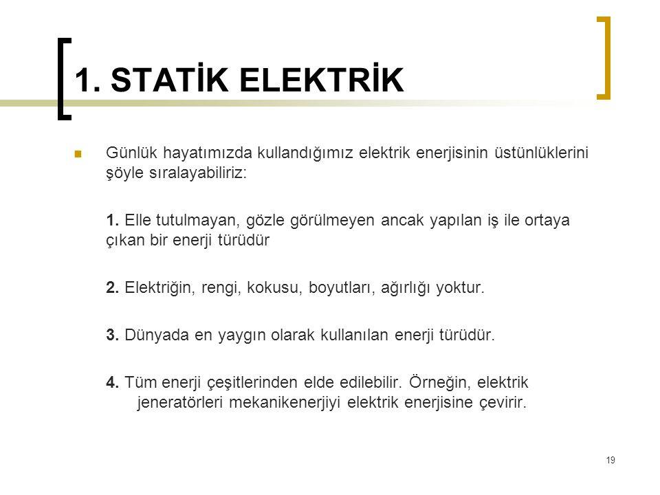 1. STATİK ELEKTRİK Günlük hayatımızda kullandığımız elektrik enerjisinin üstünlüklerini şöyle sıralayabiliriz: 1. Elle tutulmayan, gözle görülmeyen an