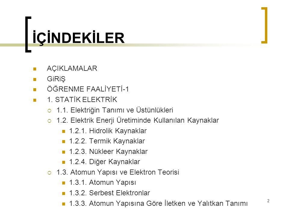 İÇİNDEKİLER AÇIKLAMALAR GiRiŞ ÖĞRENME FAALİYETİ-1 1. STATİK ELEKTRİK  1.1. Elektriğin Tanımı ve Üstünlükleri  1.2. Elektrik Enerji Üretiminde Kullan
