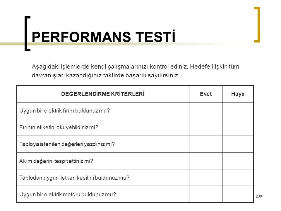 PERFORMANS TESTİ Aşağıdaki işlemlerde kendi çalışmalarınızı kontrol ediniz. Hedefe ilişkin tüm davranışları kazandığınız taktirde başarılı sayılırsını