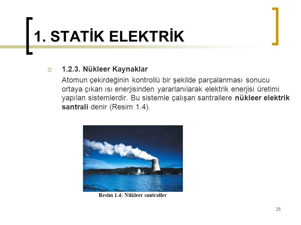 1. STATİK ELEKTRİK  1.2.3. Nükleer Kaynaklar Atomun çekirdeğinin kontrollü bir şekilde parçalanması sonucu ortaya çıkan ısı enerjisinden yararlanılar