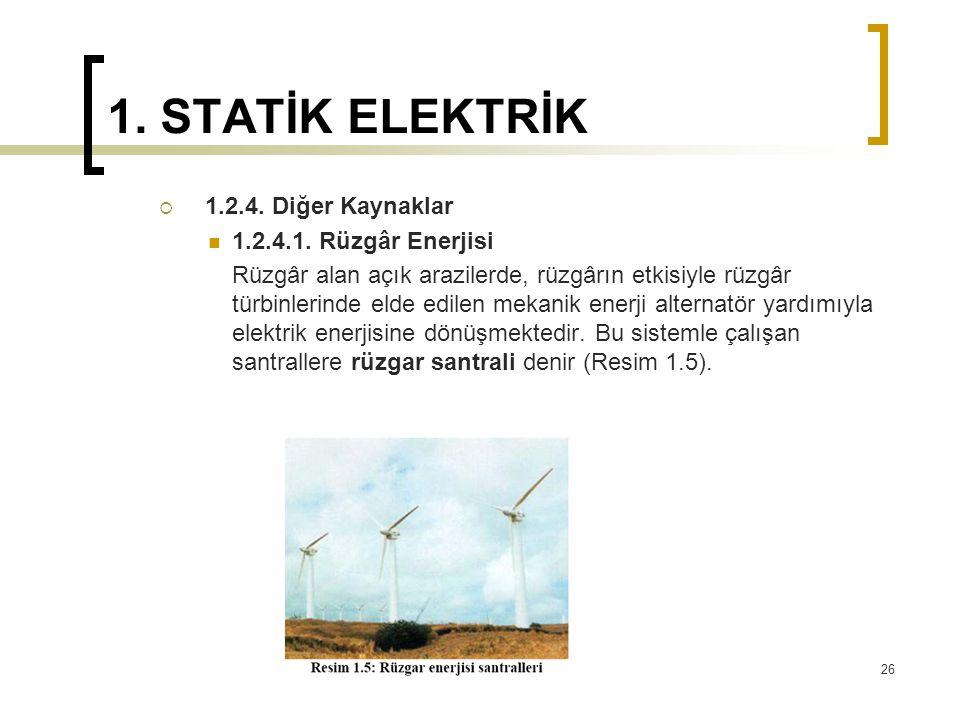 1. STATİK ELEKTRİK  1.2.4. Diğer Kaynaklar 1.2.4.1. Rüzgâr Enerjisi Rüzgâr alan açık arazilerde, rüzgârın etkisiyle rüzgâr türbinlerinde elde edilen