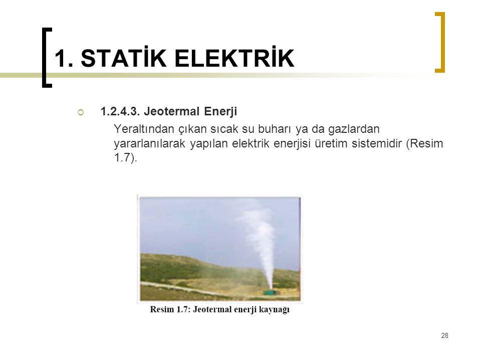 1. STATİK ELEKTRİK  1.2.4.3. Jeotermal Enerji Yeraltından çıkan sıcak su buharı ya da gazlardan yararlanılarak yapılan elektrik enerjisi üretim siste
