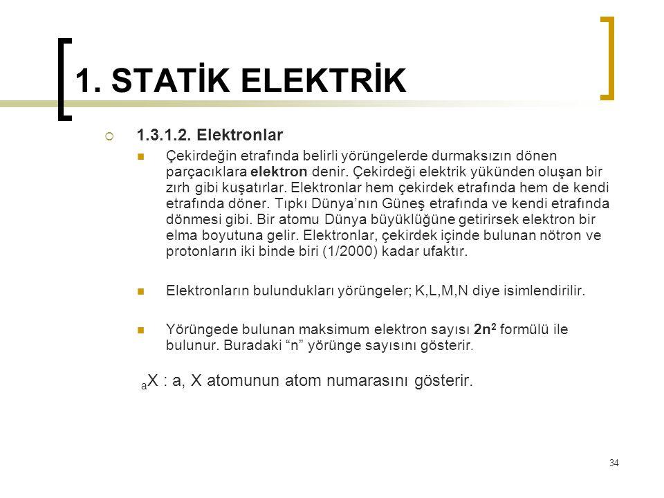 1. STATİK ELEKTRİK  1.3.1.2. Elektronlar Çekirdeğin etrafında belirli yörüngelerde durmaksızın dönen parçacıklara elektron denir. Çekirdeği elektrik