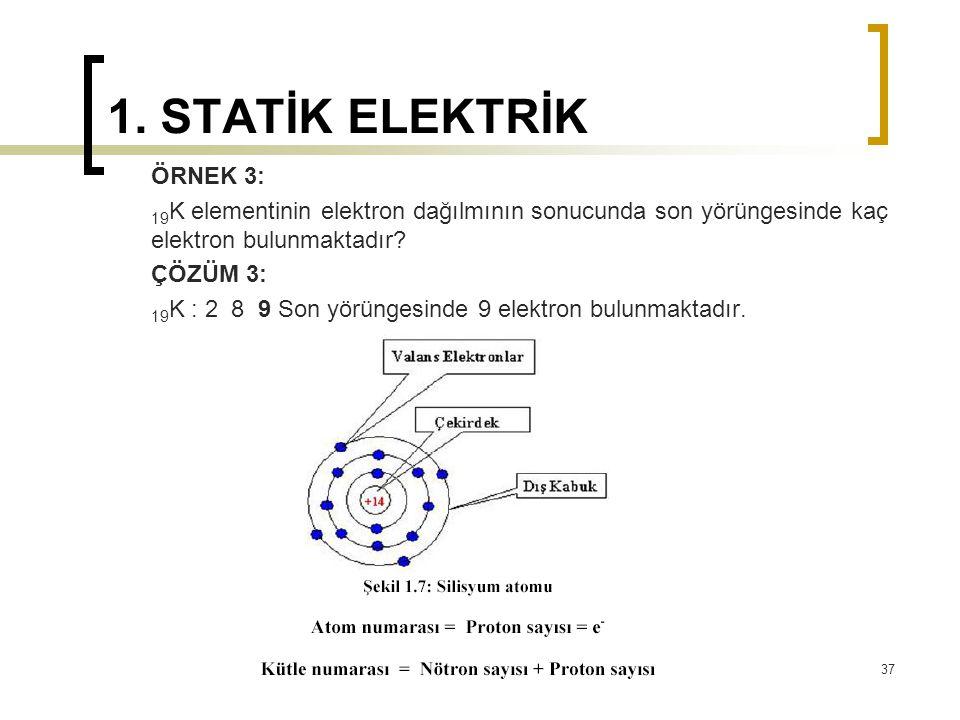 1. STATİK ELEKTRİK ÖRNEK 3: 19 K elementinin elektron dağılmının sonucunda son yörüngesinde kaç elektron bulunmaktadır? ÇÖZÜM 3: 19 K : 2 8 9 Son yörü