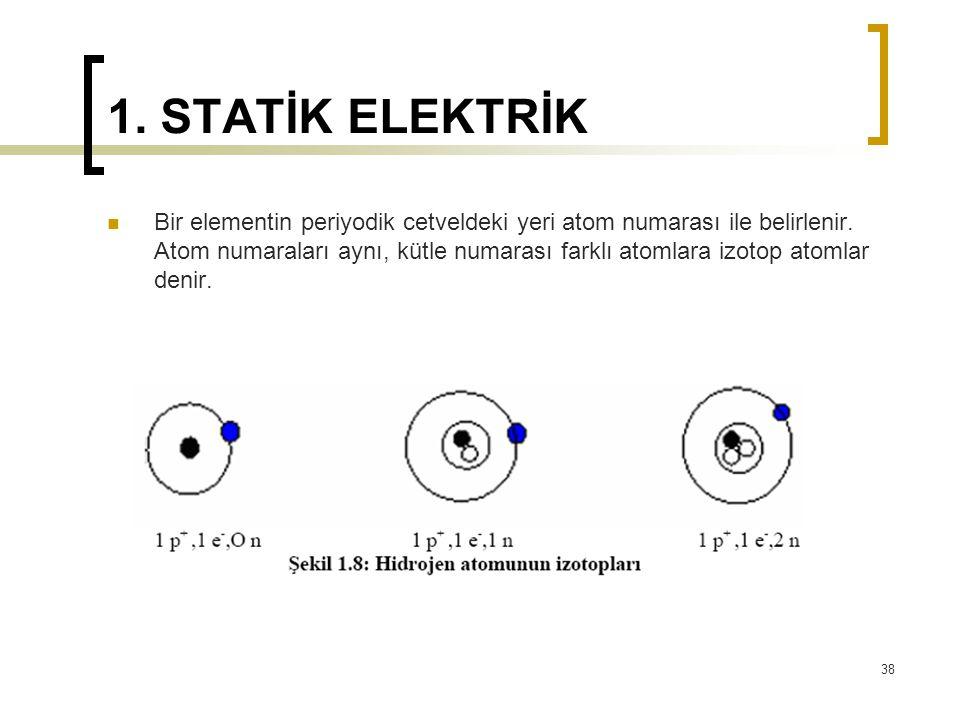 1. STATİK ELEKTRİK Bir elementin periyodik cetveldeki yeri atom numarası ile belirlenir. Atom numaraları aynı, kütle numarası farklı atomlara izotop a