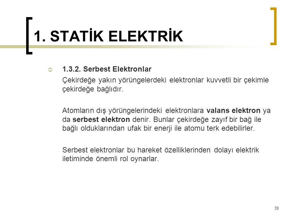 1. STATİK ELEKTRİK  1.3.2. Serbest Elektronlar Çekirdeğe yakın yörüngelerdeki elektronlar kuvvetli bir çekimle çekirdeğe bağlıdır. Atomların dış yörü