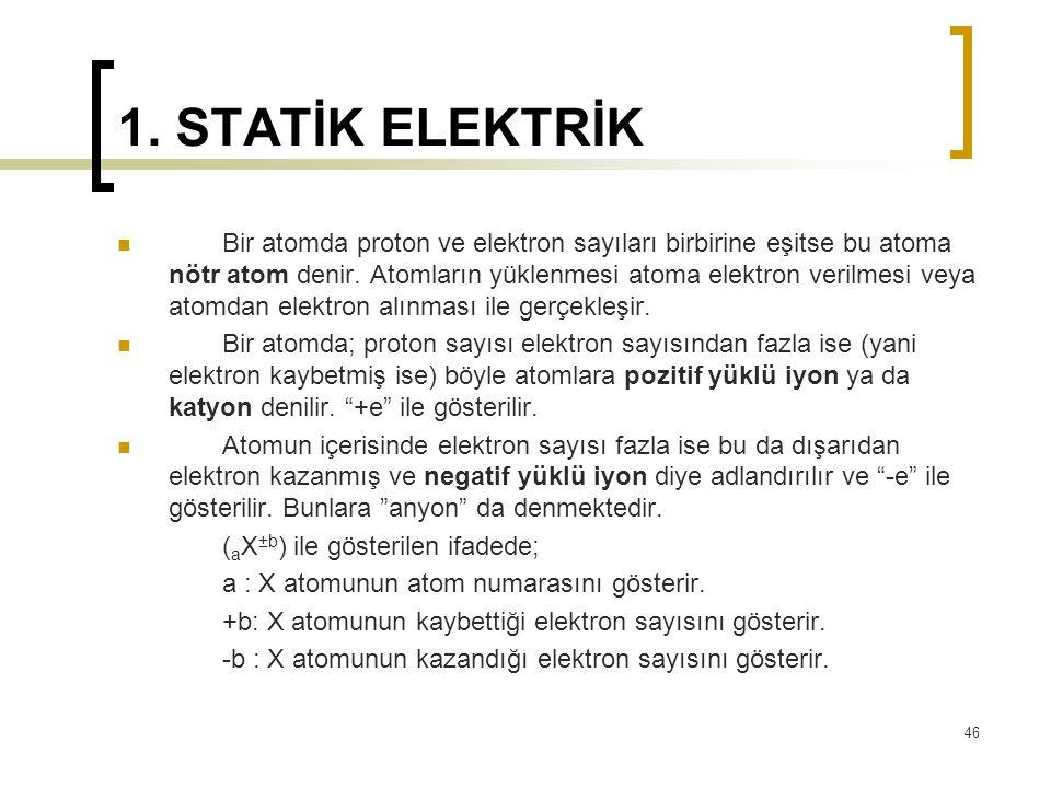 1. STATİK ELEKTRİK Bir atomda proton ve elektron sayıları birbirine eşitse bu atoma nötr atom denir. Atomların yüklenmesi atoma elektron verilmesi vey