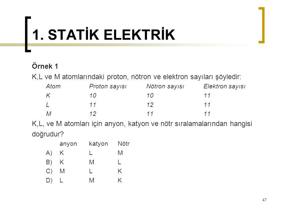 1. STATİK ELEKTRİK Örnek 1 K,L ve M atomlarındaki proton, nötron ve elektron sayıları şöyledir: Atom Proton sayısı Nötron sayısı Elektron sayısı K 10