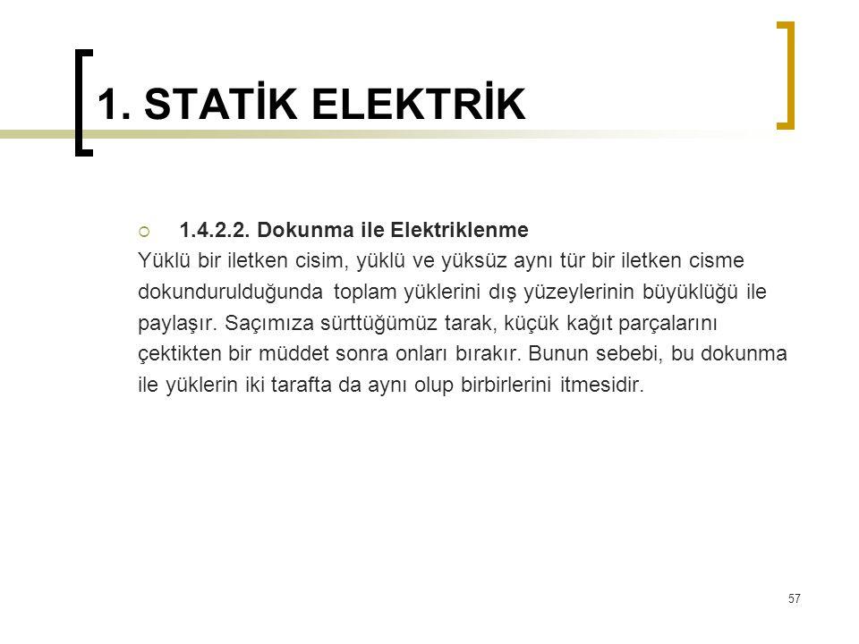 1. STATİK ELEKTRİK  1.4.2.2. Dokunma ile Elektriklenme Yüklü bir iletken cisim, yüklü ve yüksüz aynı tür bir iletken cisme dokundurulduğunda toplam y
