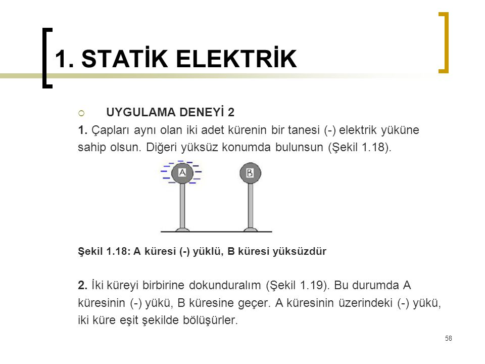 1. STATİK ELEKTRİK  UYGULAMA DENEYİ 2 1. Çapları aynı olan iki adet kürenin bir tanesi (-) elektrik yüküne sahip olsun. Diğeri yüksüz konumda bulunsu