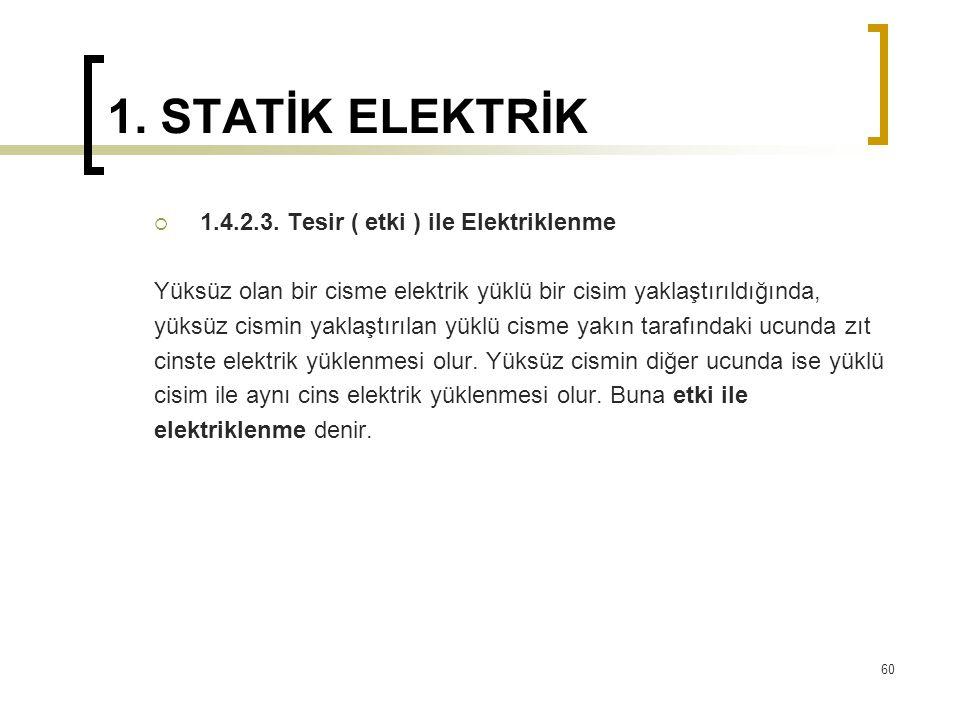 1. STATİK ELEKTRİK  1.4.2.3. Tesir ( etki ) ile Elektriklenme Yüksüz olan bir cisme elektrik yüklü bir cisim yaklaştırıldığında, yüksüz cismin yaklaş