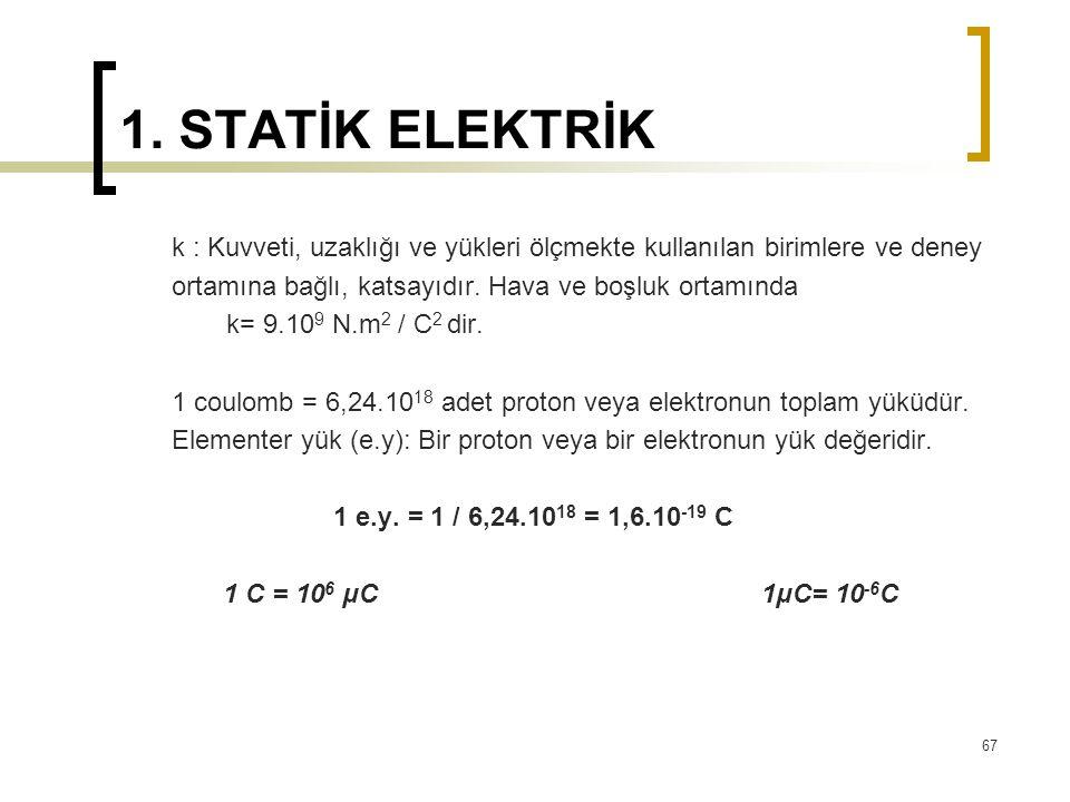 1. STATİK ELEKTRİK k : Kuvveti, uzaklığı ve yükleri ölçmekte kullanılan birimlere ve deney ortamına bağlı, katsayıdır. Hava ve boşluk ortamında k= 9.1