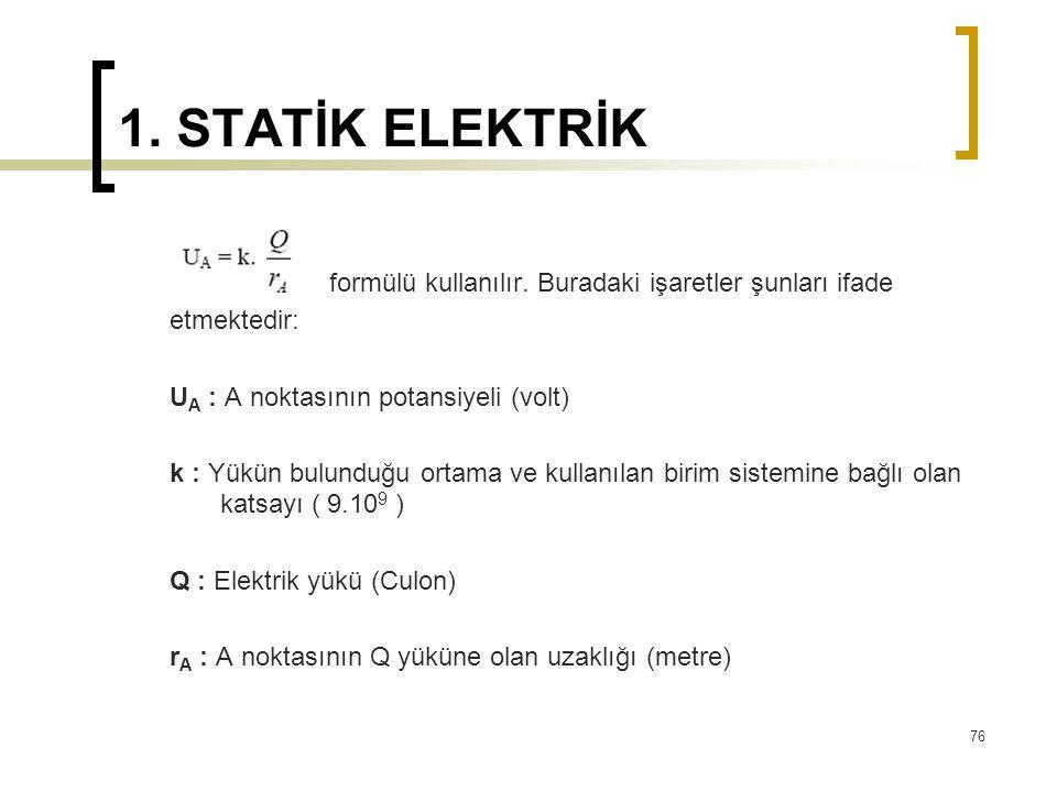 1. STATİK ELEKTRİK formülü kullanılır. Buradaki işaretler şunları ifade etmektedir: U A : A noktasının potansiyeli (volt) k : Yükün bulunduğu ortama v